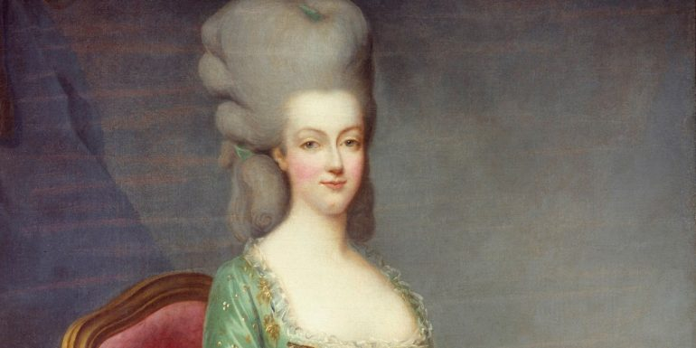 Portrait of Marie Antoinette (1755-1793), Queen of France. This portrait was given by the Queen's confessor in 1781. Painting by Francois Hubert Drouais (1727-1775), 18th century. Private collection (Photo by Leemage/Corbis via Getty Images)