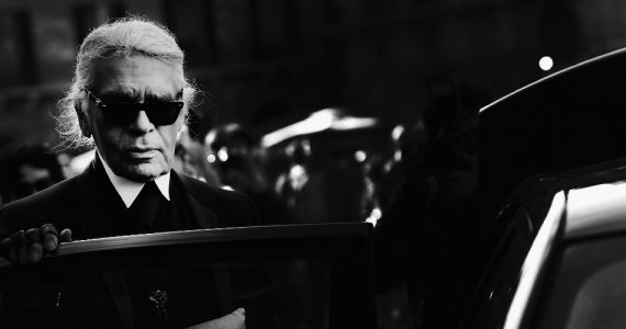 FLORENCE, ITALY - APRIL 22: (EDITORS NOTE: Image has been converted to black and white) Karl Lagerfeld
