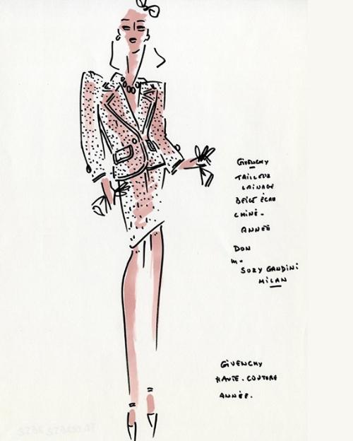 Figurín con traje de sastre, ca. 1980 Hubert de Givenchy. Foto: Museo del Traje