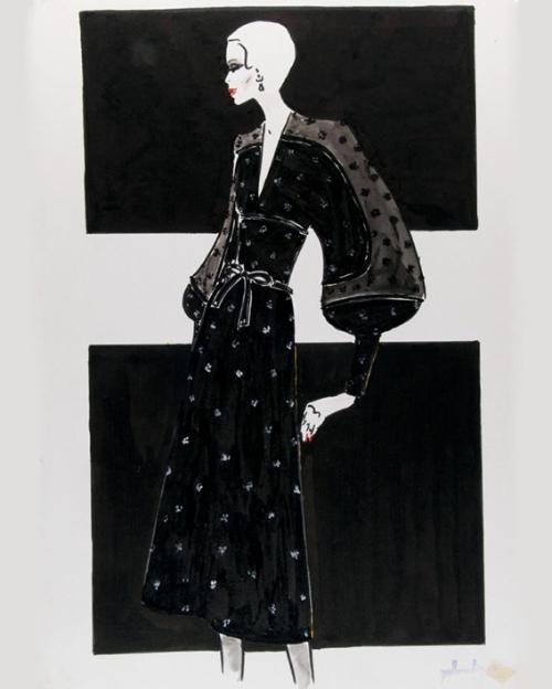 Figurín con traje de cóctel negro con topos estampados en blanco, 1973-1974 Pedro Rodríguez. Foto: Museo del Traje