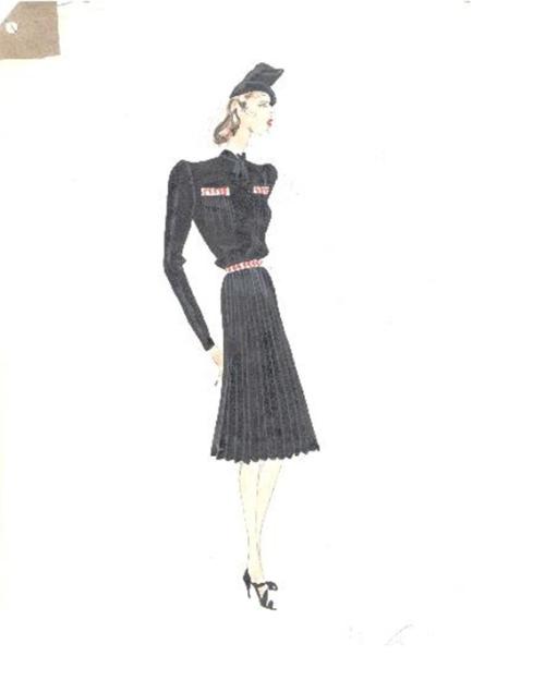 Figurín con vestido de manga larga, sombrero y redecilla negras, ca. 1940-1943 Asunción Bastida. Foto: Museo del Traje