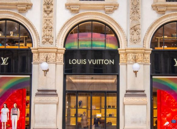 A closed Louis Vuitton store is seen on May 17, 2020 in Milan, Italy. Italy was the first country to impose a nationwide lockdown to stem the transmission of the Coronavirus (Covid-19), and its restaurants, theaters and many other businesses remain closed. (Photo by Francesco Prandoni/Getty Images)
