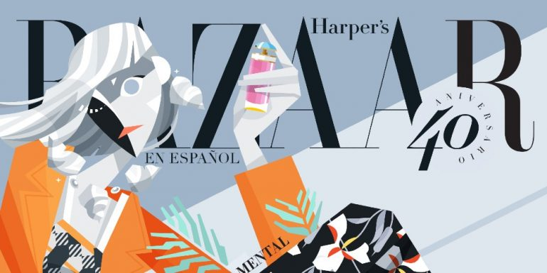 Portada Harper's Bazaar en Español. Ilustración: Rōbsō