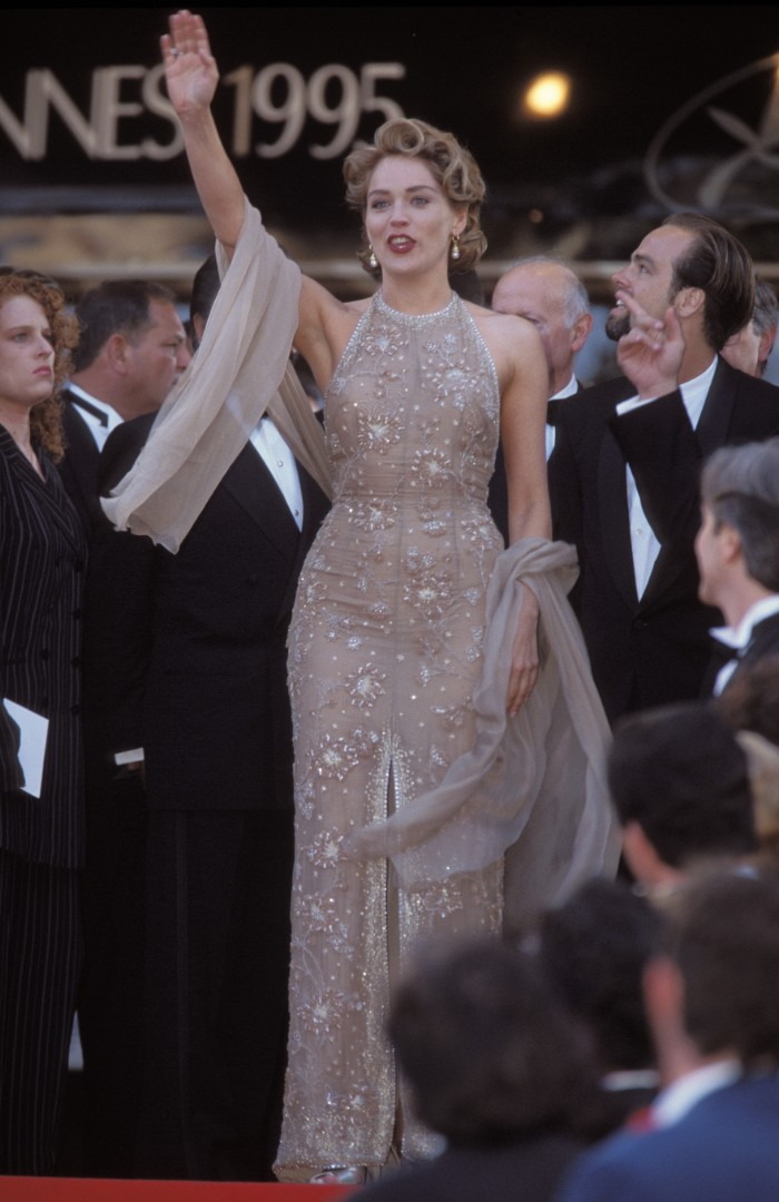 Sharon Stone, 1987.FRANCE - MAY 01: Closing the Festival de Cannes in Cannes, France on May 01, 1995 - Sharon Stone arriving at the closing ceremony of Cannes Film Festival. (Photo by Pool ARNAL/PAT/GARCIA/Gamma-Rapho via Getty Images)