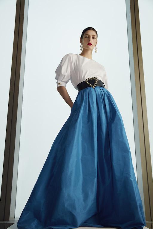 Carolina Herrera Fall 2021 falda azul