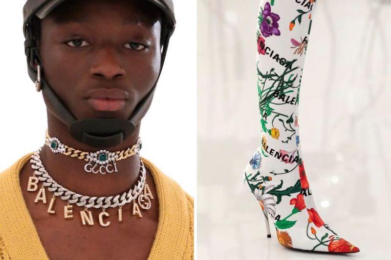 Gucci Balenciaga casco botas